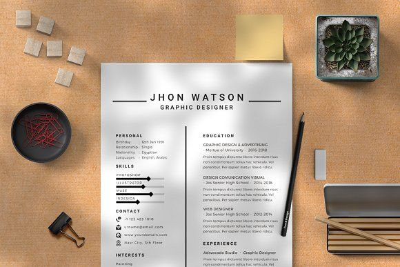Resume Templates & Design : Modern Simple CV Template CreativeWork247 - Fonts, Graphics, Photoshop, Template... - Resumes.tn   Home of Resumes Inspiration & Ideas, Beautiful professional Resume Ideas That Work