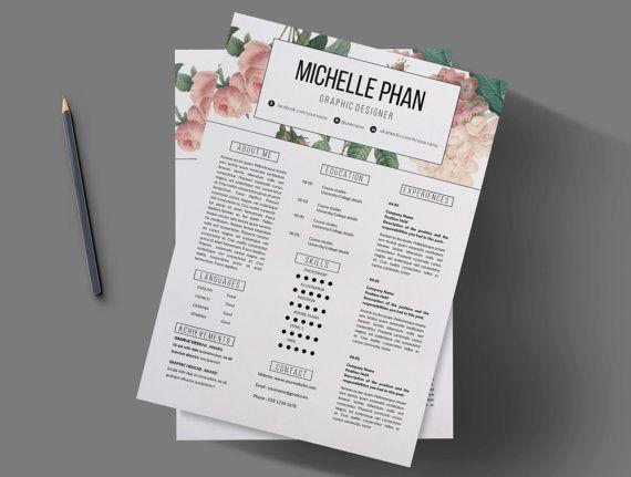Creative CV template (pastel floral background ) + cover letter / Resume template / Elegant CV design / Modern r… | Resume design, Creative cv, Creative cv template